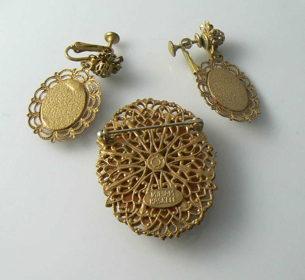 Vintage Signed Miriam Haskell Goldtone Flower Basket Cameo Pin & Earrings Set - Vintage Lane Jewelry