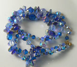 Signed Vendome 2 Strand Blue Glass Necklace - Vintage Lane Jewelry - 1