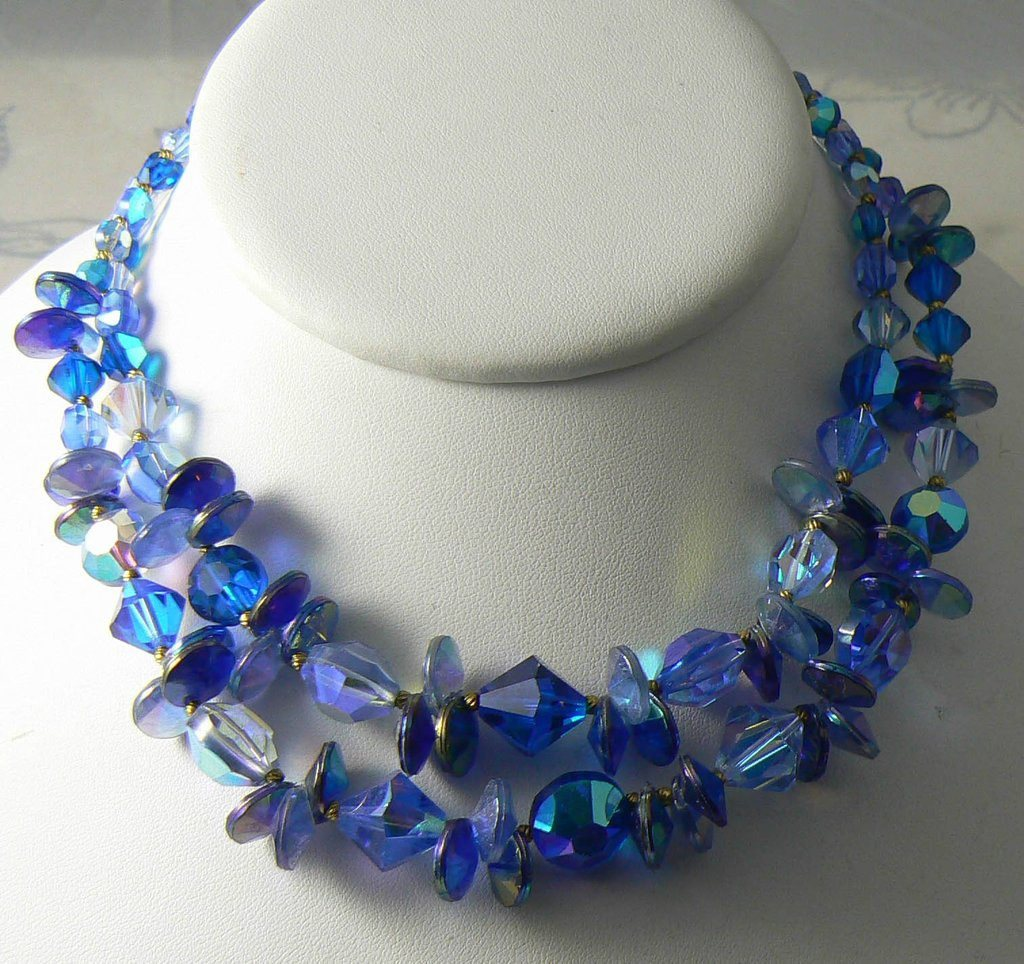 Signed Vendome 2 Strand Blue Glass Necklace - Vintage Lane Jewelry - 2