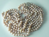 5 Strand Pink Lavender Freshwater Genuine Pearl Necklace - Vintage Lane Jewelry