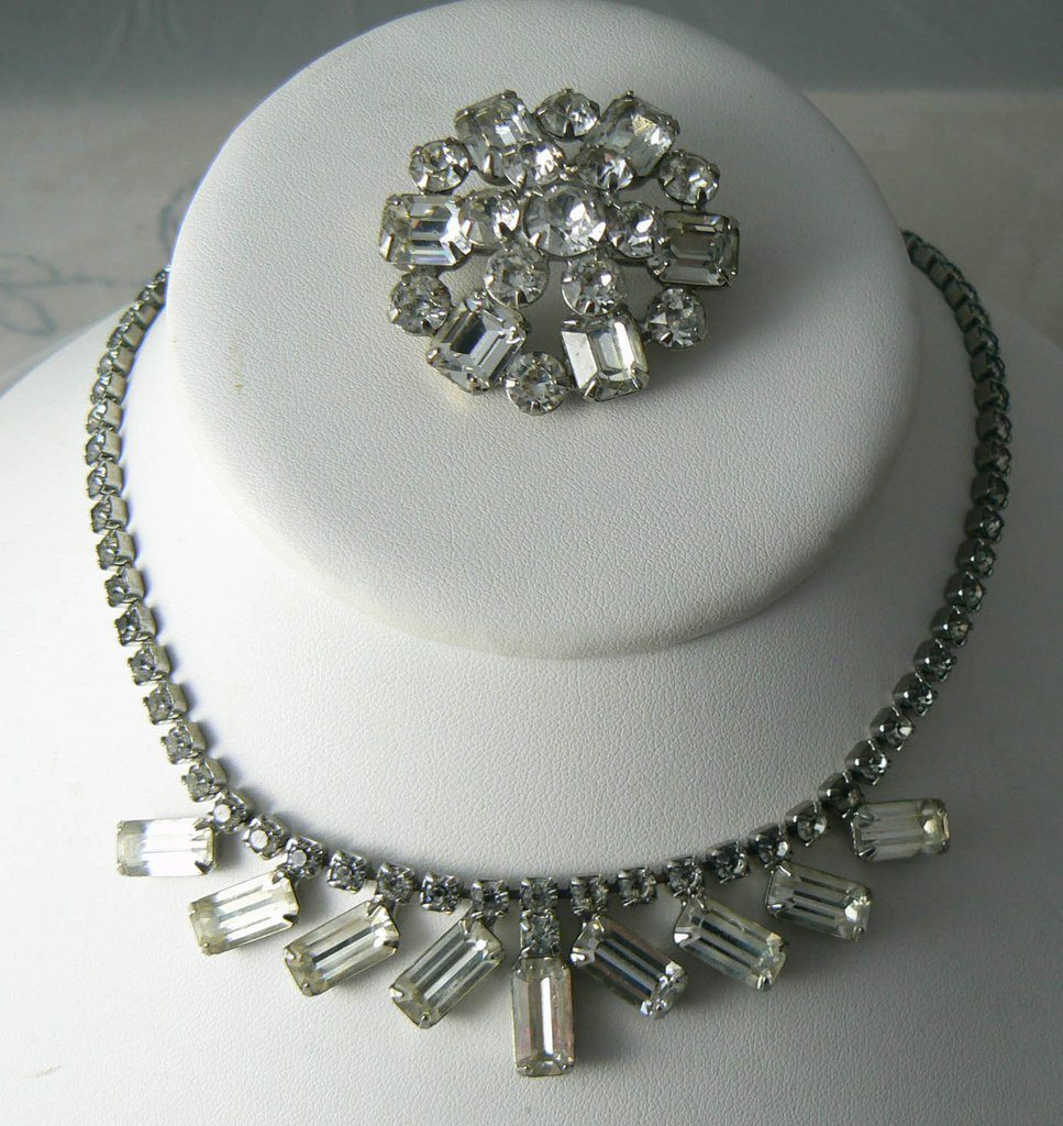 Vintage Weiss Clear Baguette Rhinestone Necklace And Brooch - Vintage Lane Jewelry