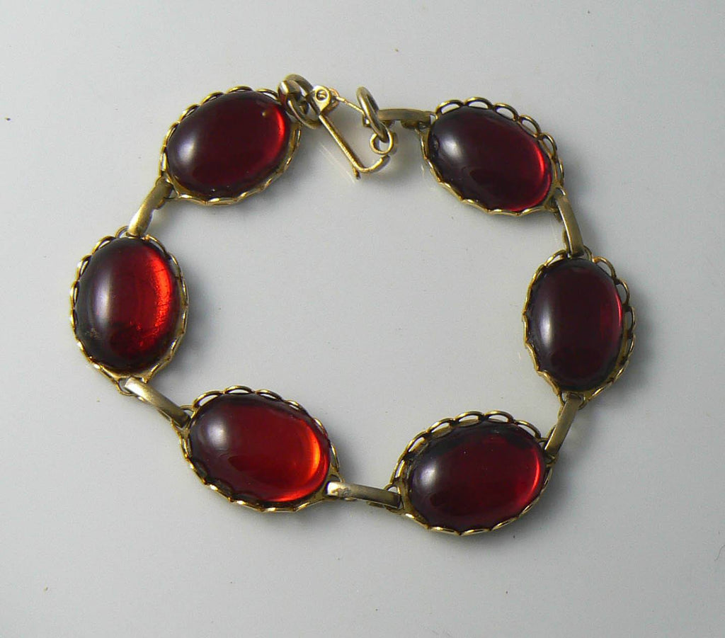Red Jelly Belly Cabochons Glass Bracelet - Vintage Lane Jewelry