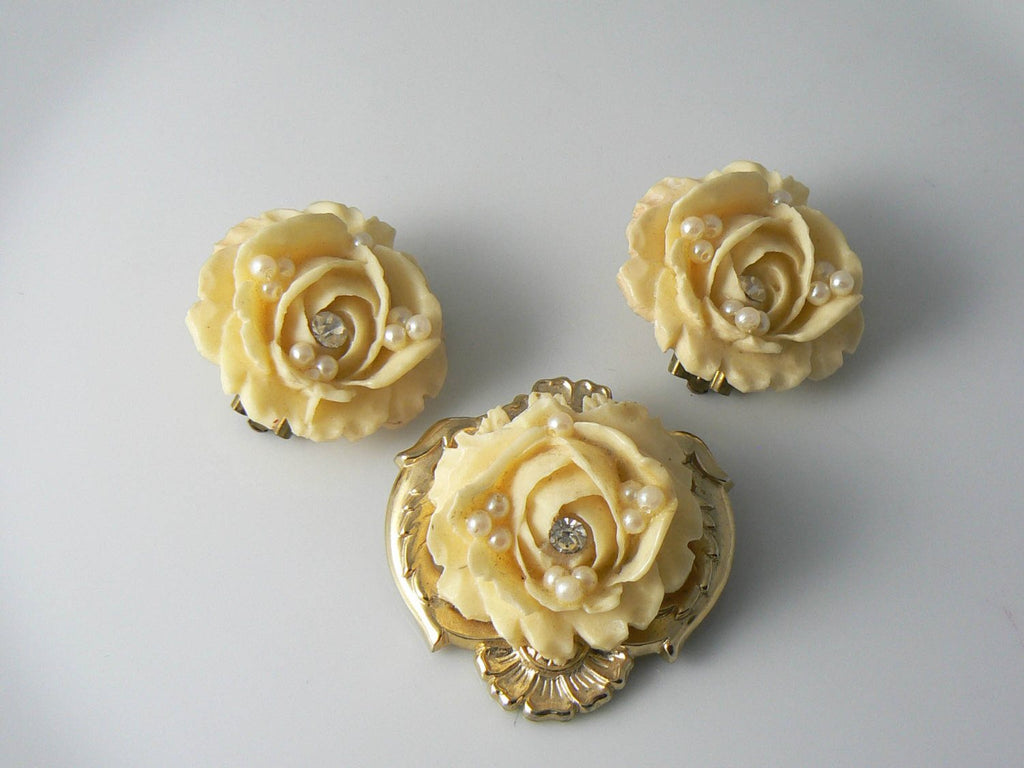 Vintage Pale Yellow Carved Celluloid Rose Brooch Earrings - Vintage Lane Jewelry