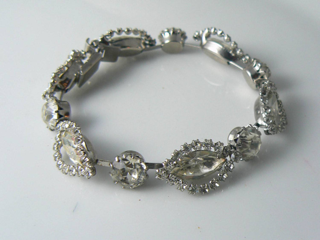 Signed Weiss Clear Rhinestone Demi Parure - Vintage Lane Jewelry