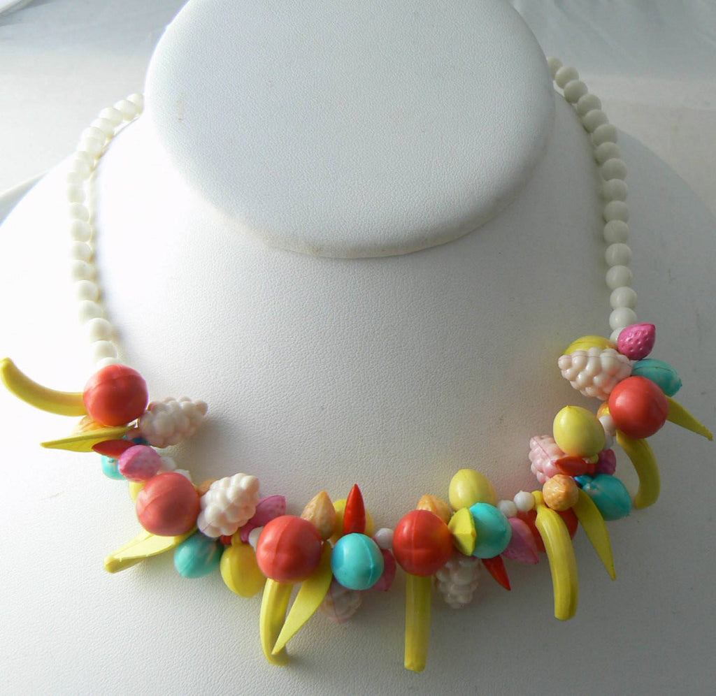 Vintage Plastic Bead Beaded Fruit Salad Charm Necklace - Vintage Lane Jewelry