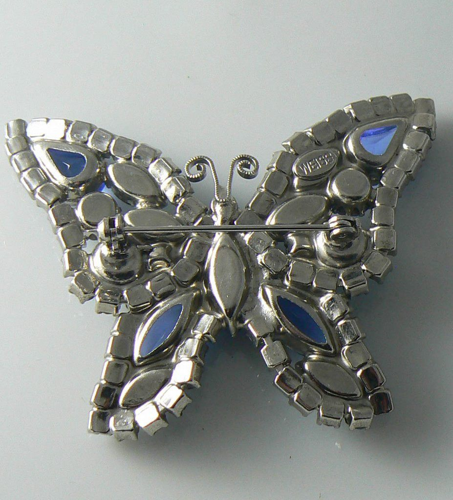Vintage Weiss blue AB rhinestone butterfly brooch - Vintage Lane Jewelry