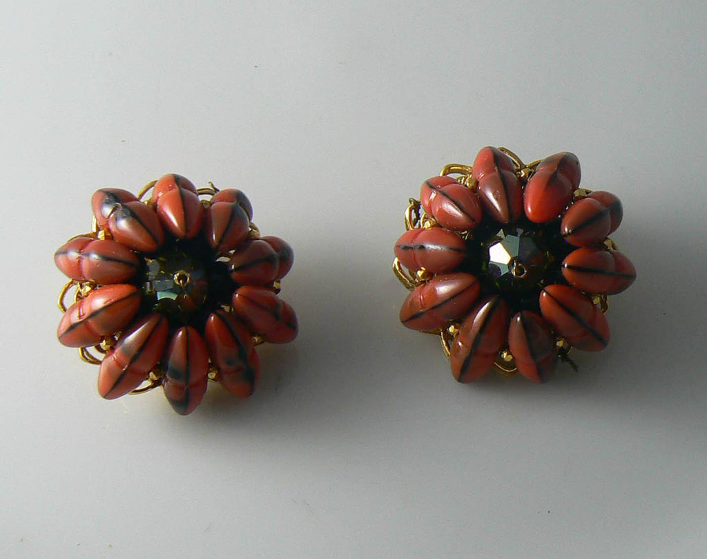 Hattie Carnegie Art Glass Black And Orange Clip Earrings - Vintage Lane Jewelry