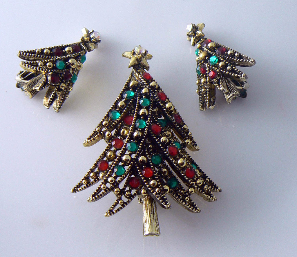 Vintage Holllycraft Ribbon Tree Brooch And Earrings Set - Vintage Lane Jewelry