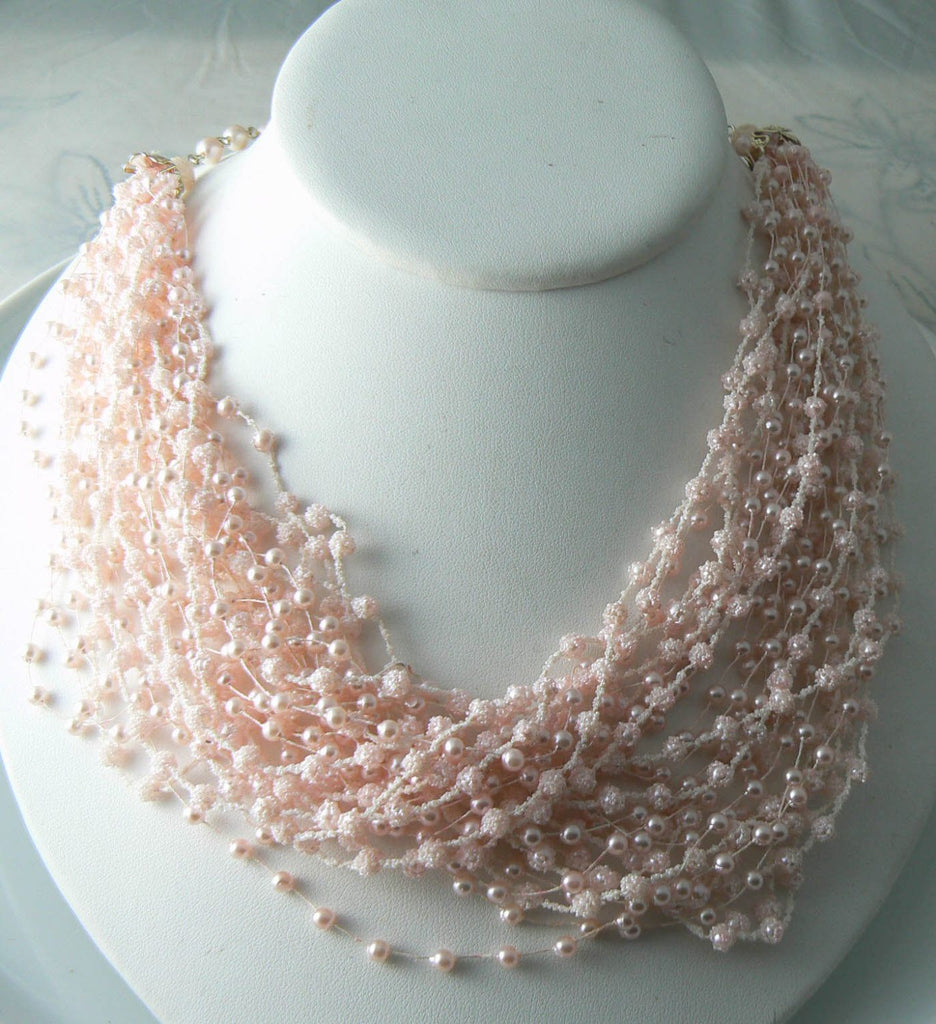 Vintage Pink Sugar Bead Faux Pearl Necklace - Vintage Lane Jewelry