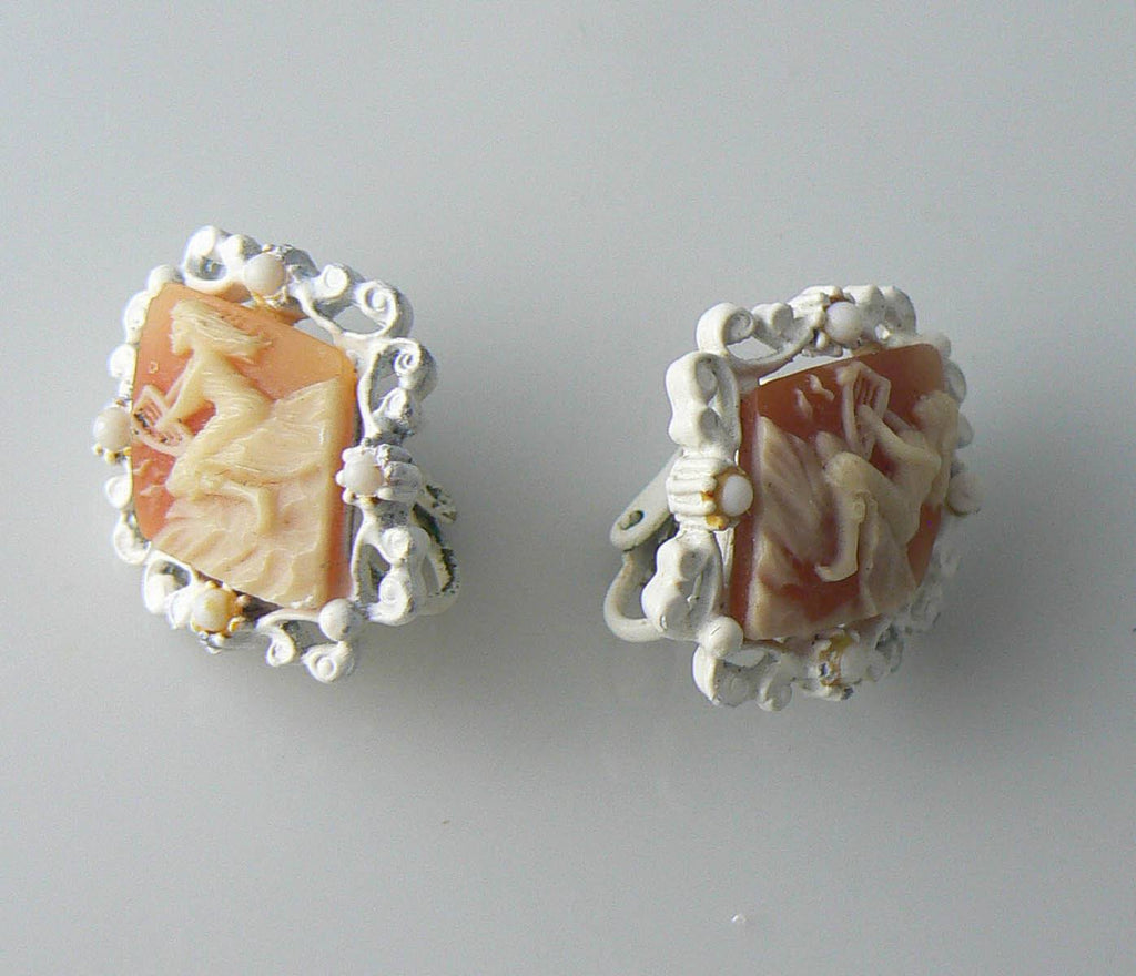 Vintage White Enamel And Celluloid Cameo Clip Earrings - Vintage Lane Jewelry - 1