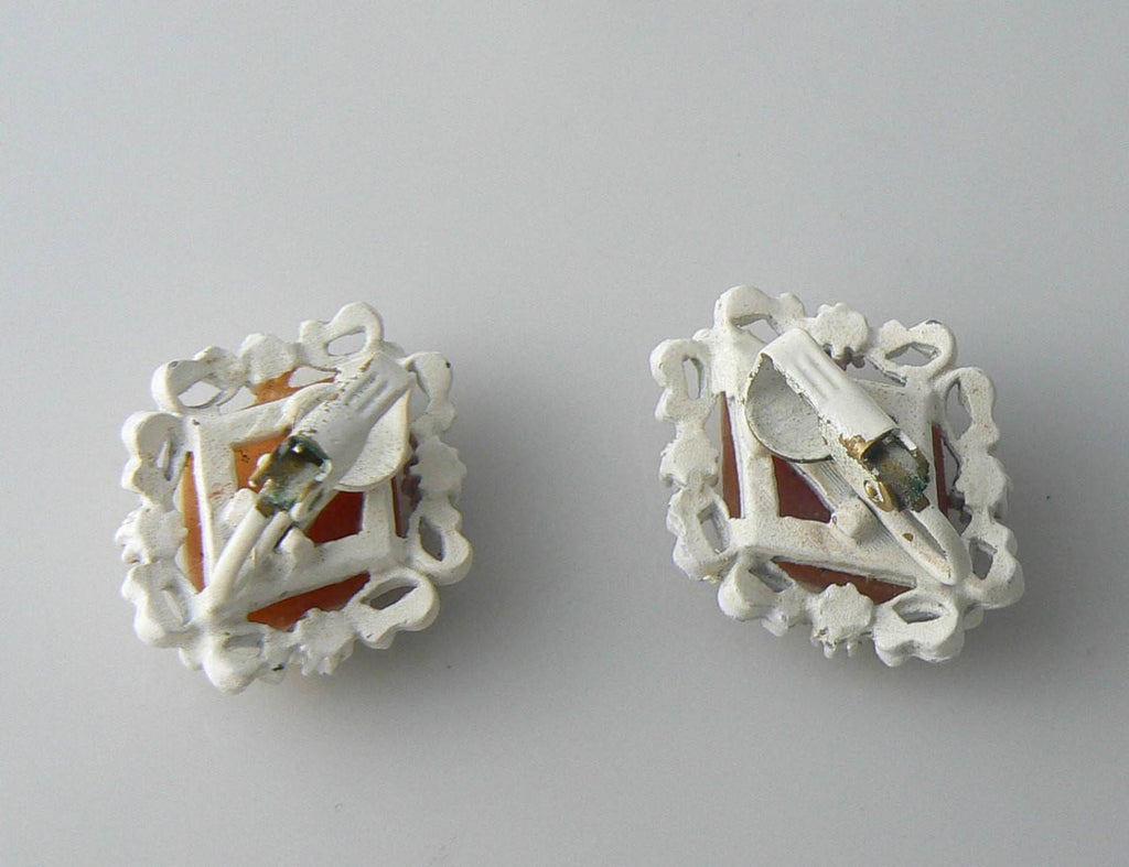 Vintage White Enamel And Celluloid Cameo Clip Earrings - Vintage Lane Jewelry - 2