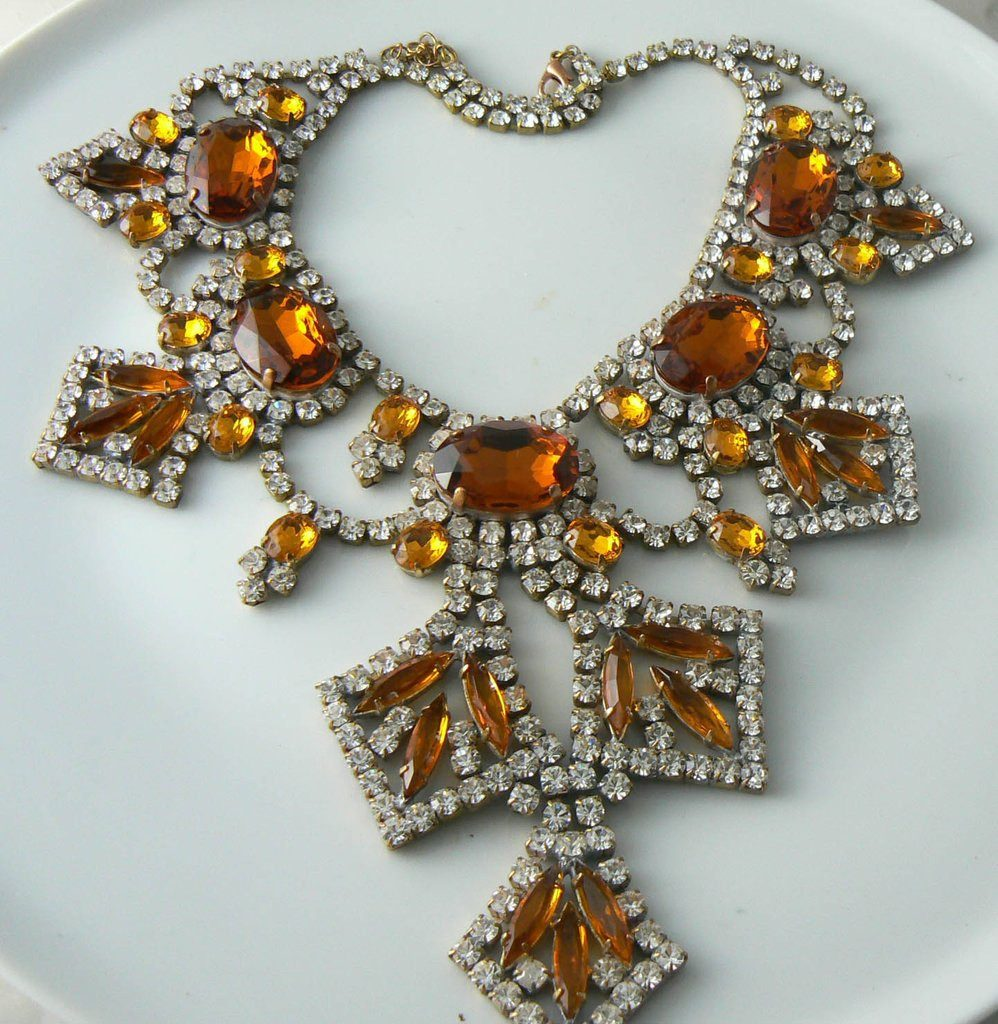 Topaz Colored Czech Glass And Clear Rhinestone Necklace - Vintage Lane Jewelry