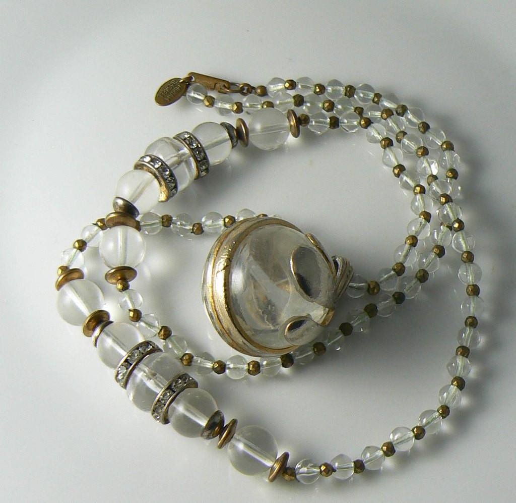Rare Miriam Haskell Glass And Lucite Orb Necklace - Vintage Lane Jewelry