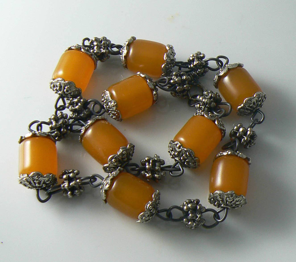 Vintage Butterscotch Amber Bakelite Egg Yolk Trade Bead Necklace - Vintage Lane Jewelry