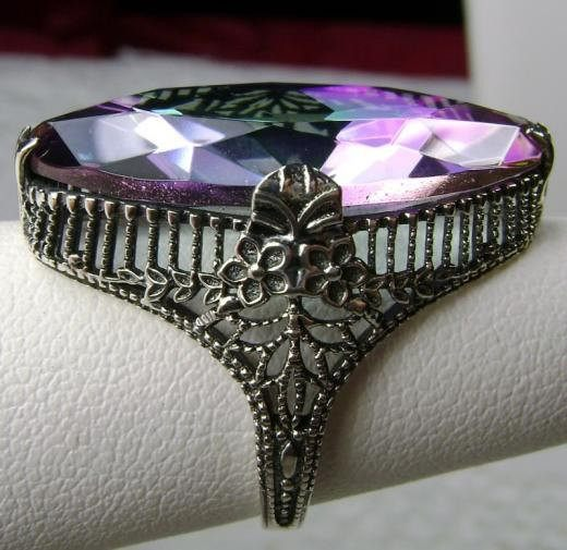 13ct Marquise Mystic Topaz Victorian Filigree Sterling Silver Ring - Vintage Lane Jewelry - 1