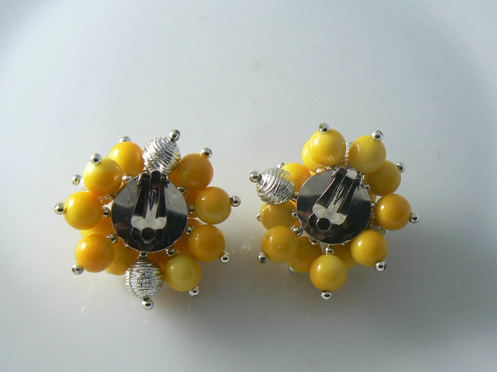 Huge Fun Yellow Plastic Clip Earrings - Vintage Lane Jewelry - 2