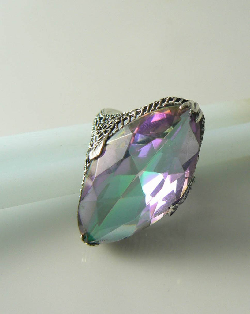 13ct Marquise Mystic Topaz Victorian Filigree Sterling Silver Ring - Vintage Lane Jewelry