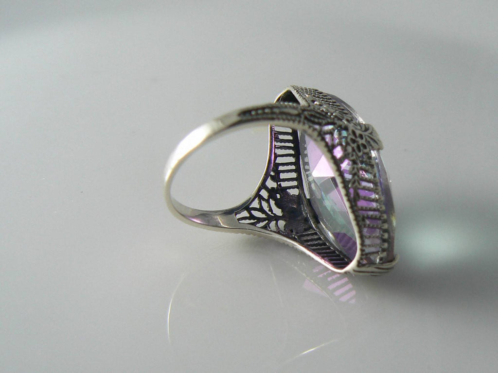 13ct Marquise Mystic Topaz Victorian Filigree Sterling Silver Ring - Vintage Lane Jewelry - 3