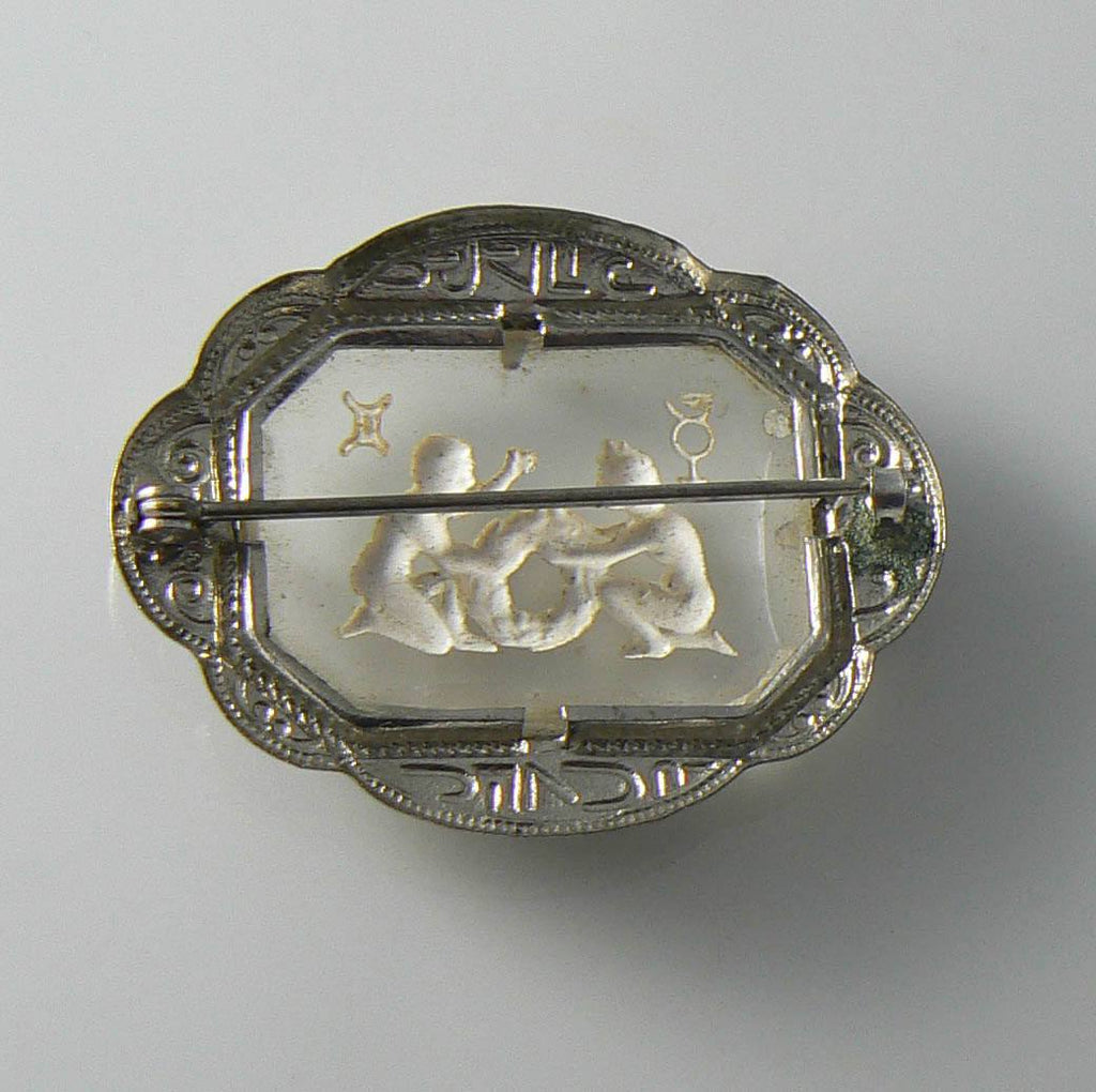 Victorian Gemini Zodiac Theme Glass Reverse Carved Silver Tone Brooch - Vintage Lane Jewelry