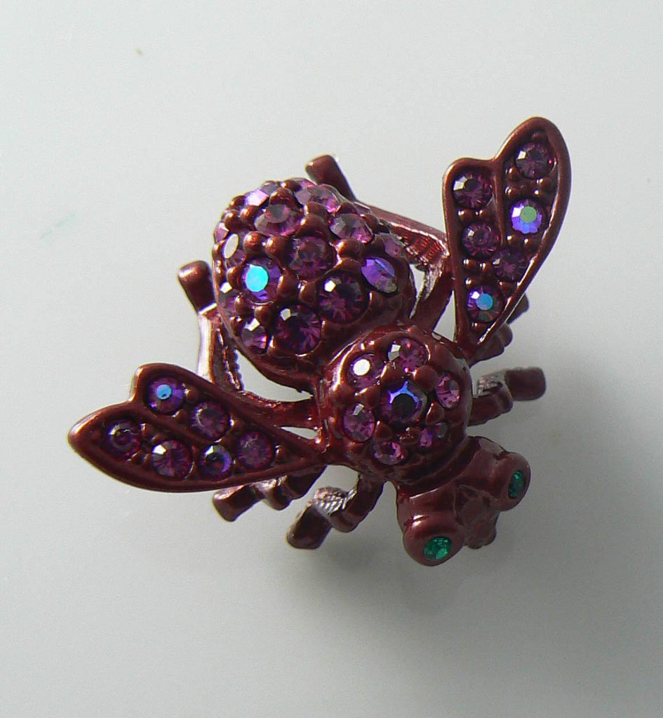 Joan Rivers Hot Pink Rhinestone Bee - Vintage Lane Jewelry