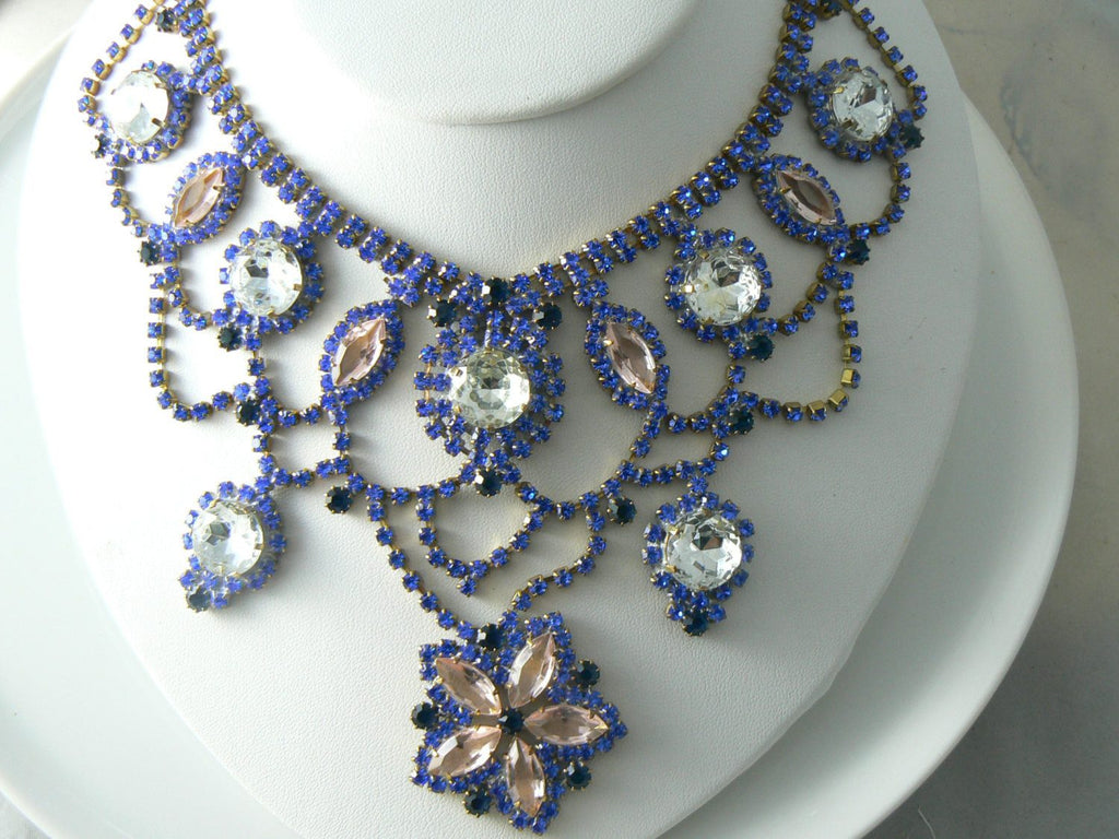 Blue, Pink And Clear Czech Glass Flower Necklace - Vintage Lane Jewelry