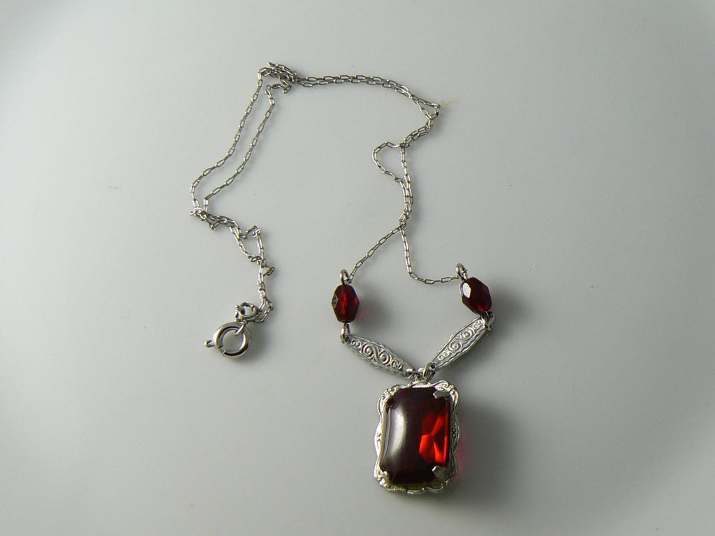 Vintage Art Nouveau Deco Red Stone Embossed Setting Filigree Necklace - Vintage Lane Jewelry