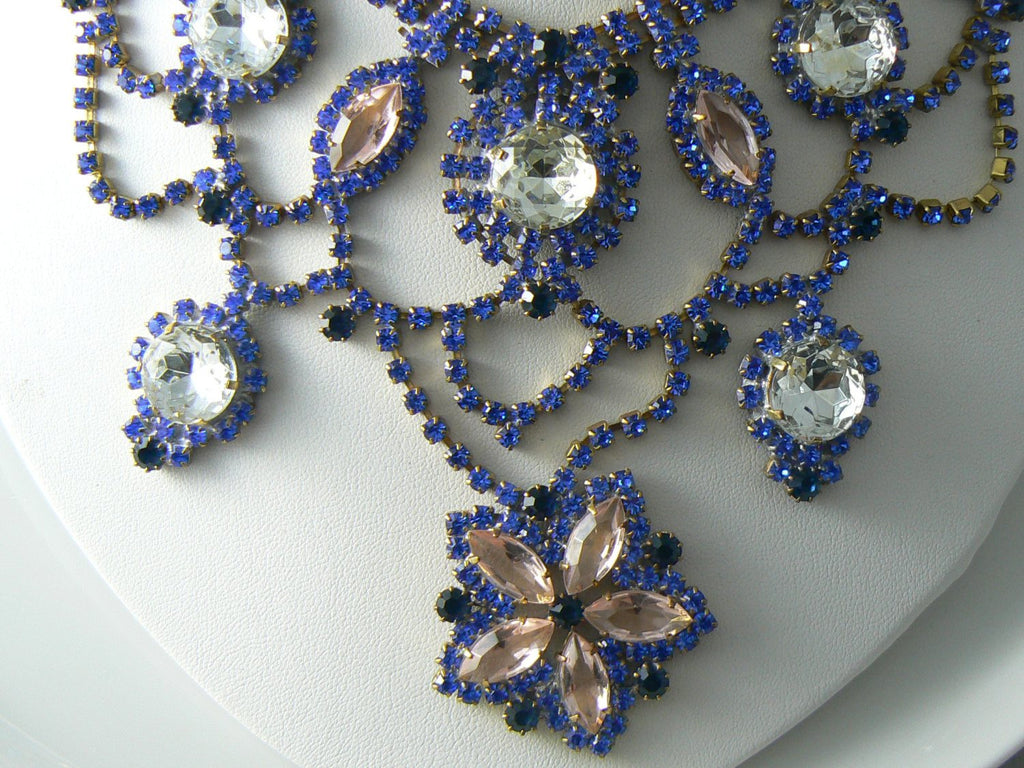Blue, Pink And Clear Czech Glass Flower Necklace - Vintage Lane Jewelry - 2