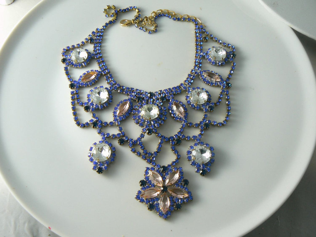 Blue, Pink And Clear Czech Glass Flower Necklace - Vintage Lane Jewelry - 3