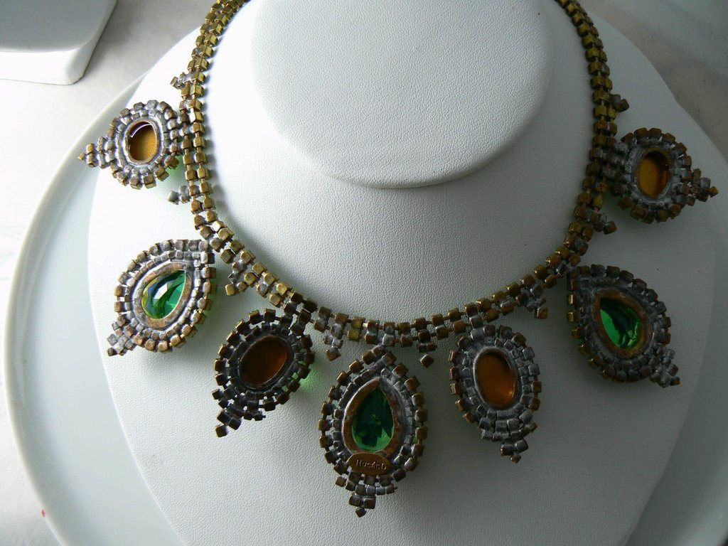 Large Green Ab Czech Glass Rhinestone Necklace - Vintage Lane Jewelry