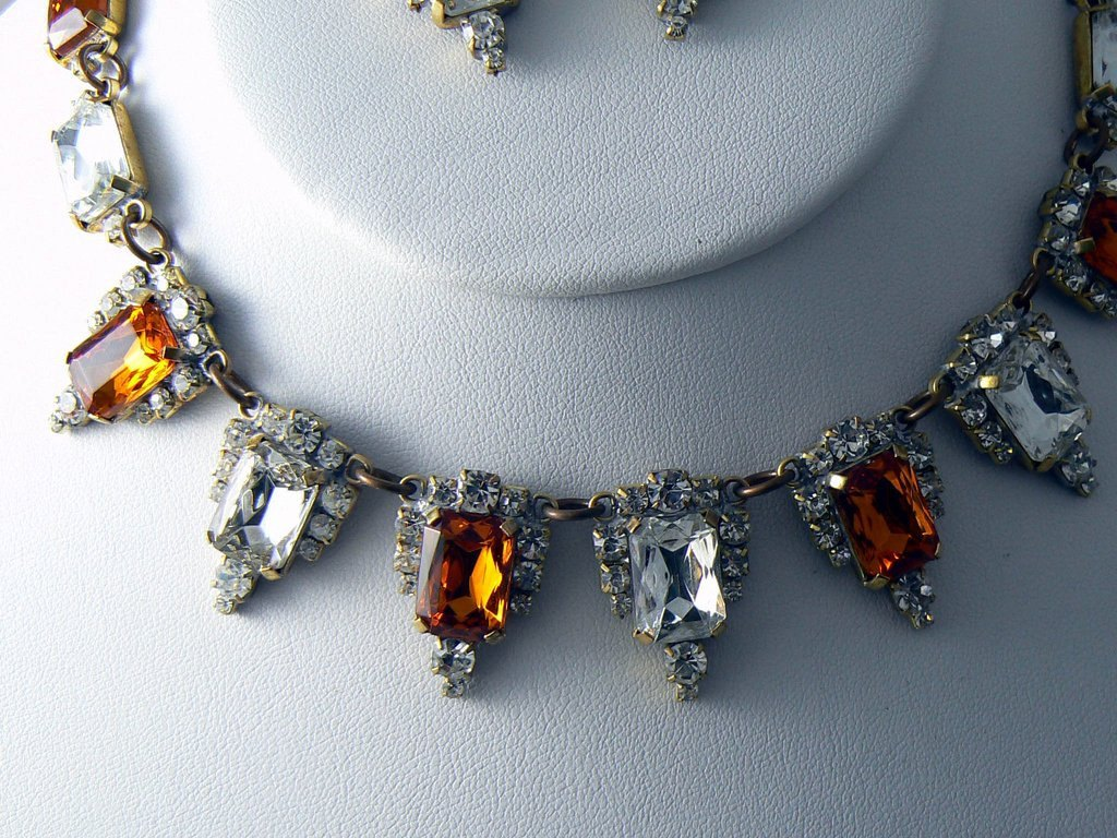 Czech Glass Topaz Rhinestones Necklace And Clip Earrings - Vintage Lane Jewelry - 2