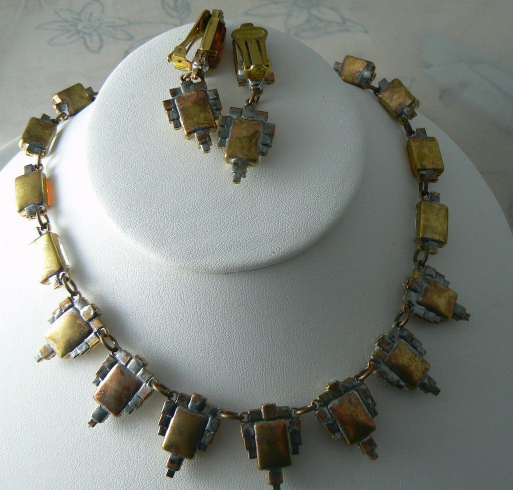 Czech Glass Topaz Rhinestones Necklace And Clip Earrings - Vintage Lane Jewelry - 3