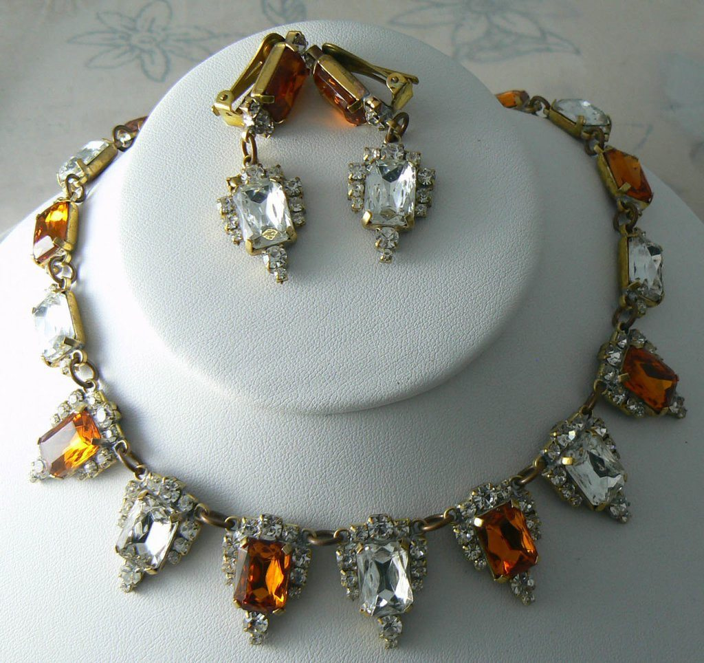 Czech Glass Topaz Rhinestones Necklace And Clip Earrings - Vintage Lane Jewelry