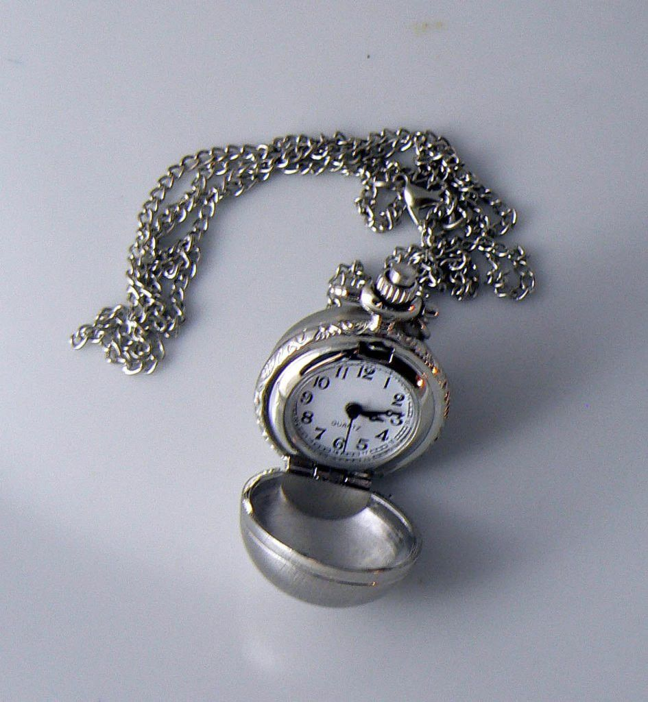 Silver Pocket Watch Necklace Pendant & Chain Ball Sphere - Vintage Lane Jewelry