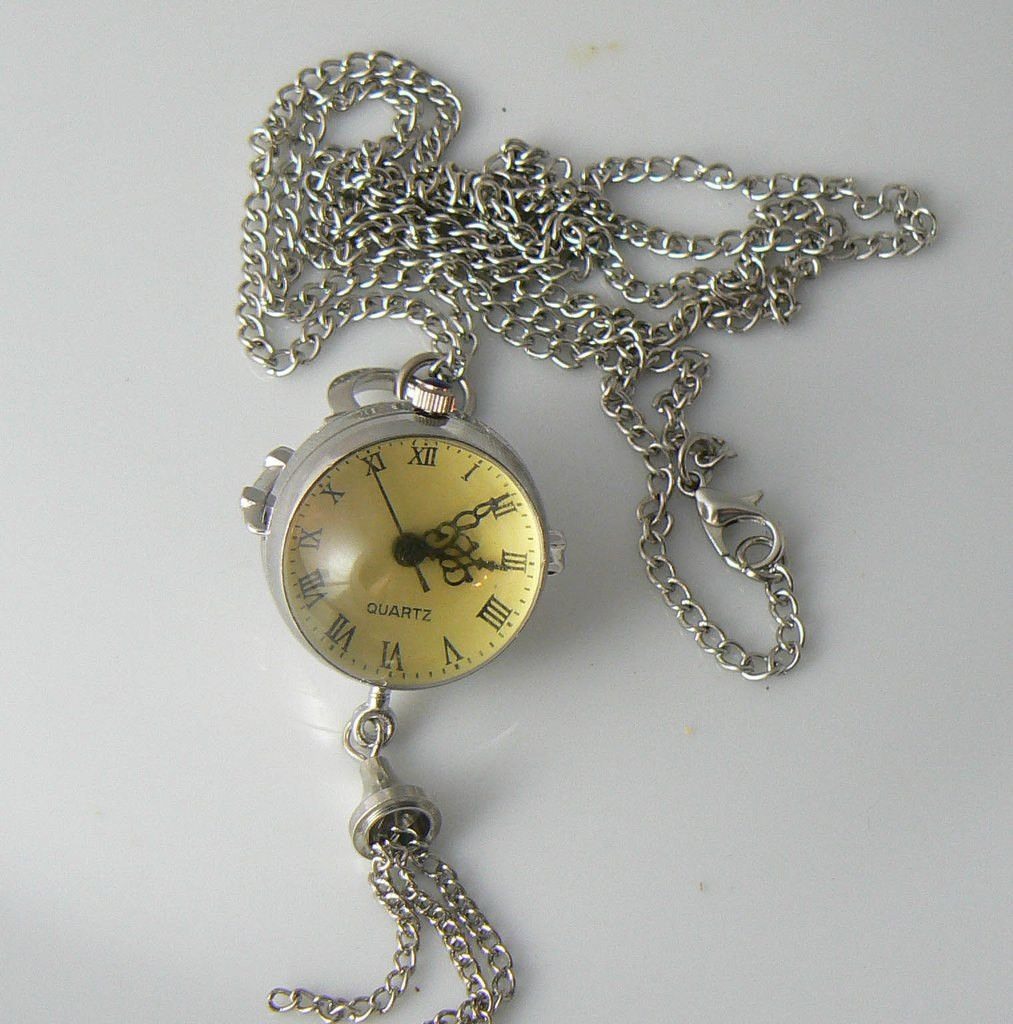 Very Unique Round Pocket Watch Necklace, Pendant & Chain - Vintage Lane Jewelry