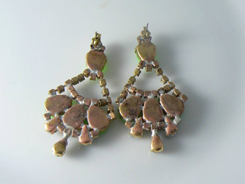 Neon Green Czech Glass Pierced Earrings - Vintage Lane Jewelry