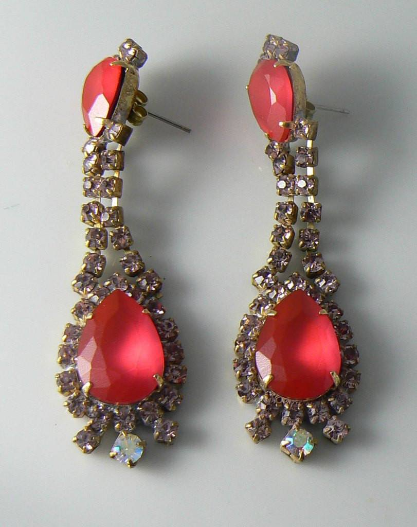 "Red Neon Czech Glass Dangle Pierced Earrings, Design By ""taboo"" - Vintage Lane Jewelry"