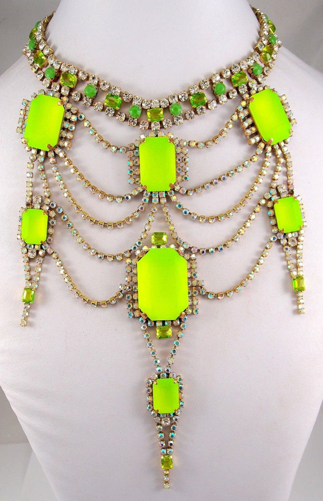Beautiful Rhinestone necklace hand made in Czech republic NEON STONES - Vintage Lane Jewelry