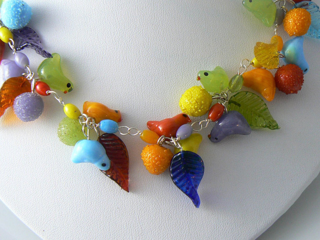 Vintage Murano Glass Bird and Fruit Necklace - Vintage Lane Jewelry