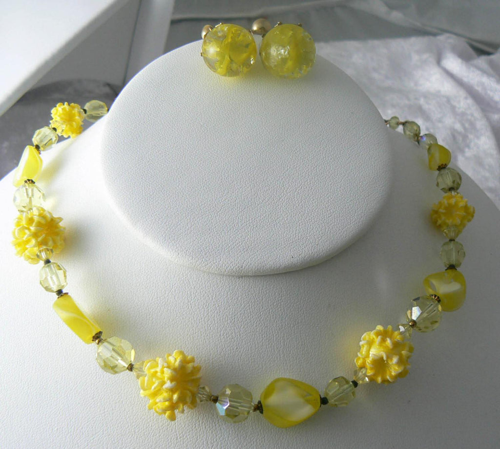 Yellow Givre Cracked Glass Set - Vintage Lane Jewelry
