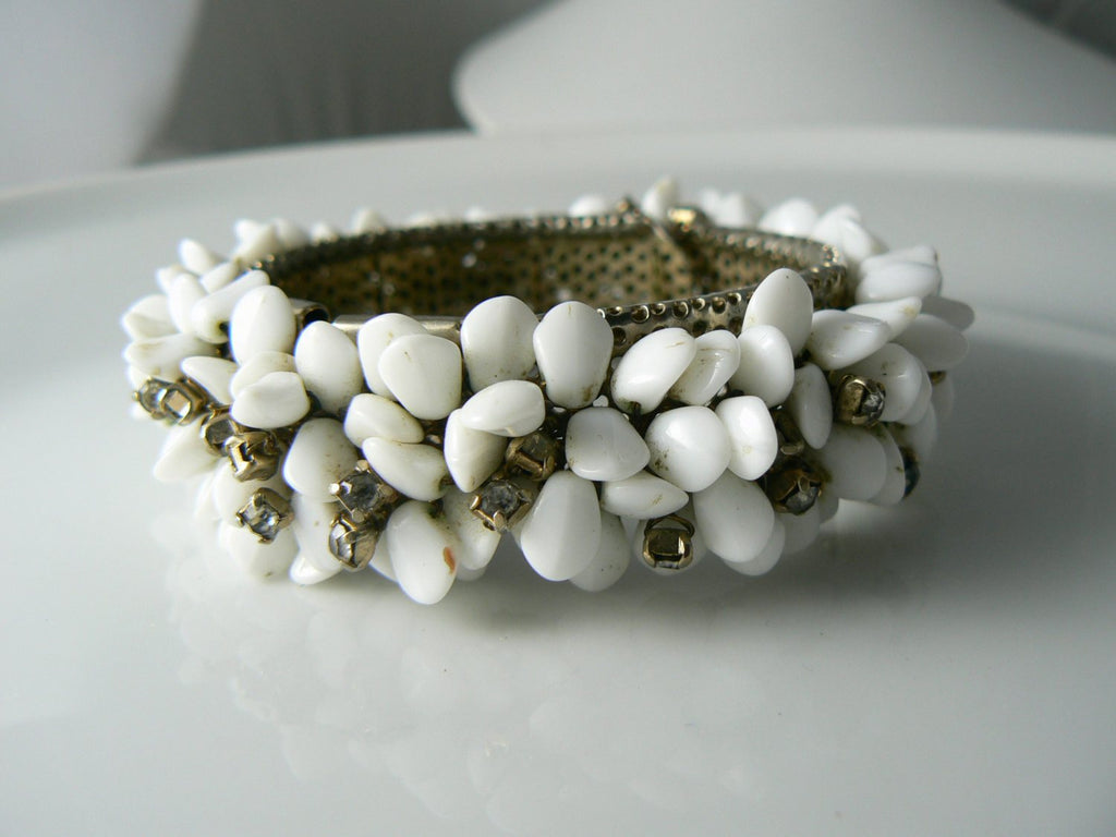 Early Miriam Haskell Milk Glass Rhinestone Demi - Vintage Lane Jewelry