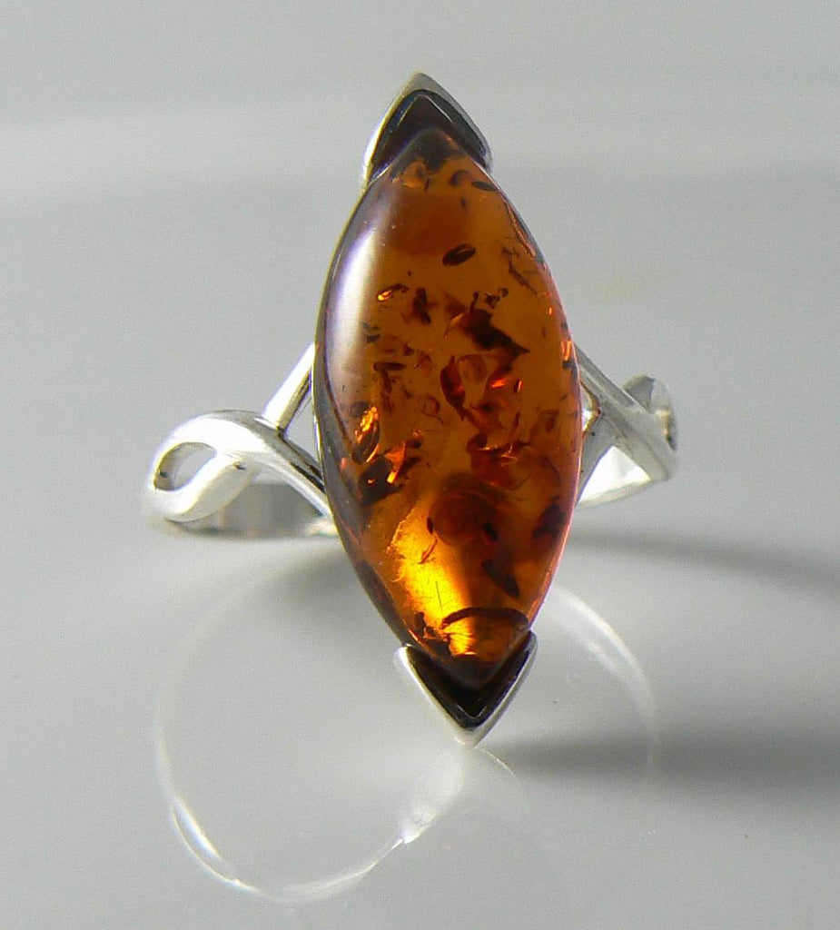 Sterling silver and Baltic Amber Ring - Vintage Lane Jewelry
