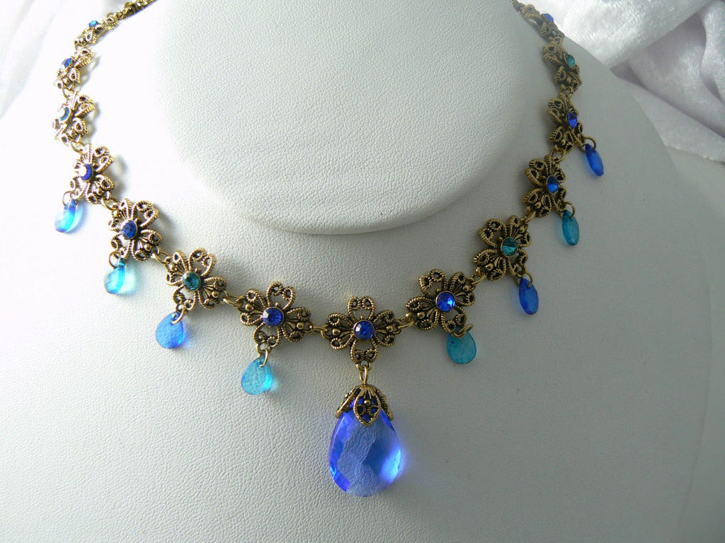 Vintage Blue Glass And Rhinestone Dangle Necklace - Vintage Lane Jewelry