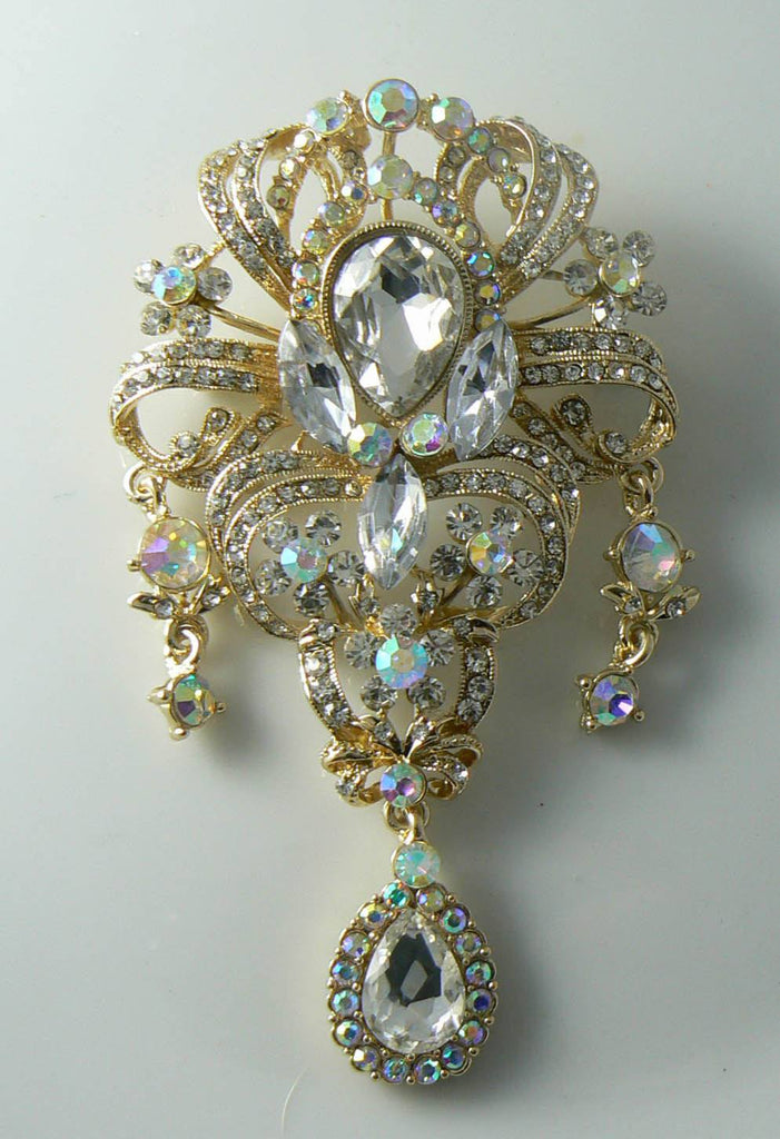 Flower Drop Clear Swarovski Crystal Brooch Pin - Vintage Lane Jewelry