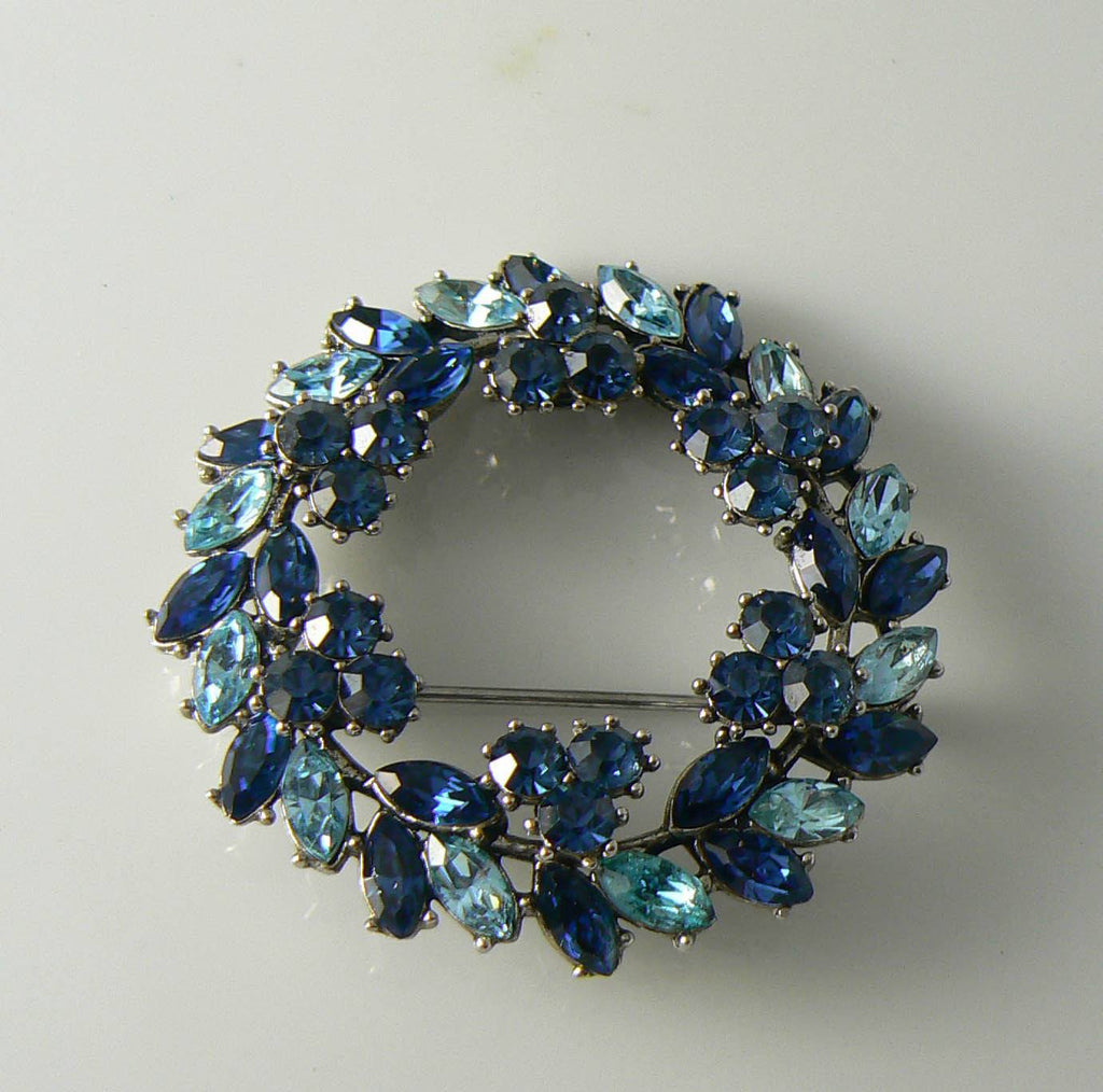 Vintage Crown Trifari Sapphire Blue Rhinestone Brooch - Vintage Lane Jewelry