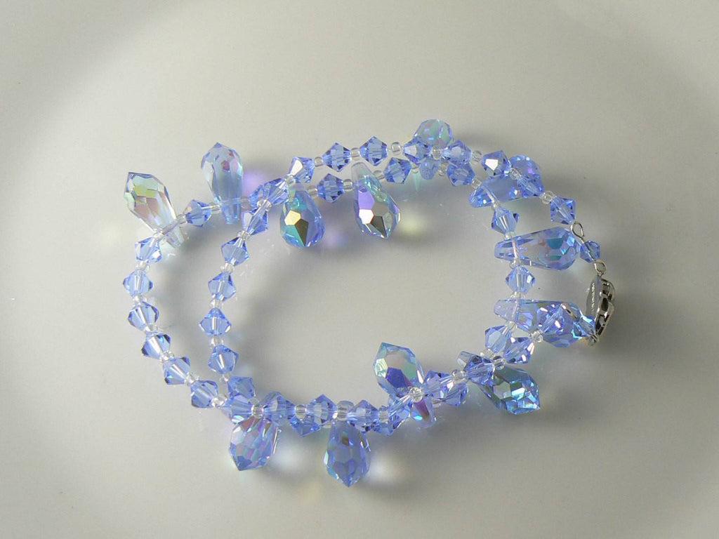 Vintage Blue Glass Ab Crystal Teardrop Bead Necklace - Vintage Lane Jewelry