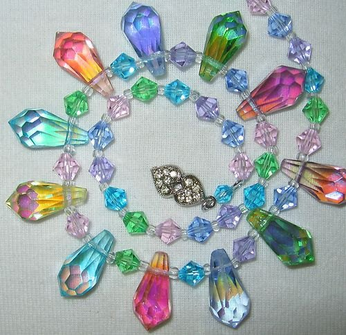 Vintage Rainbow Ab Crystal Teardrop Bead Necklace - Vintage Lane Jewelry