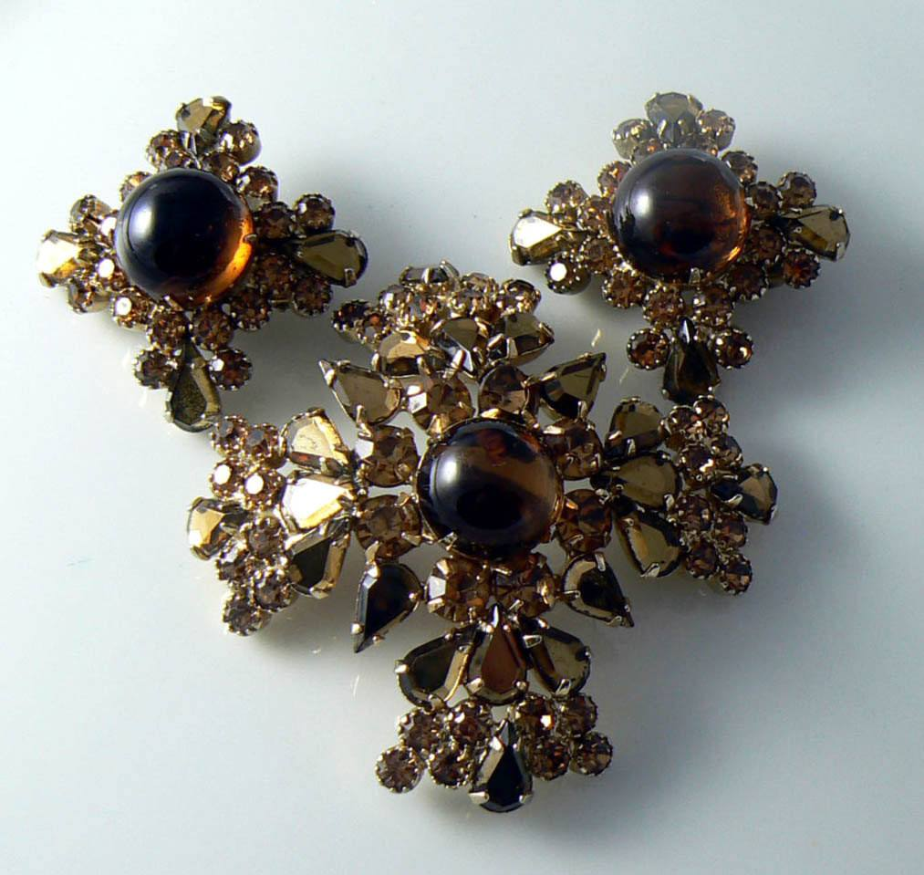 Gorgeous Topaz Glass Cabochon & Rhinestone Pin/pendant Earring Set - Vintage Lane Jewelry
