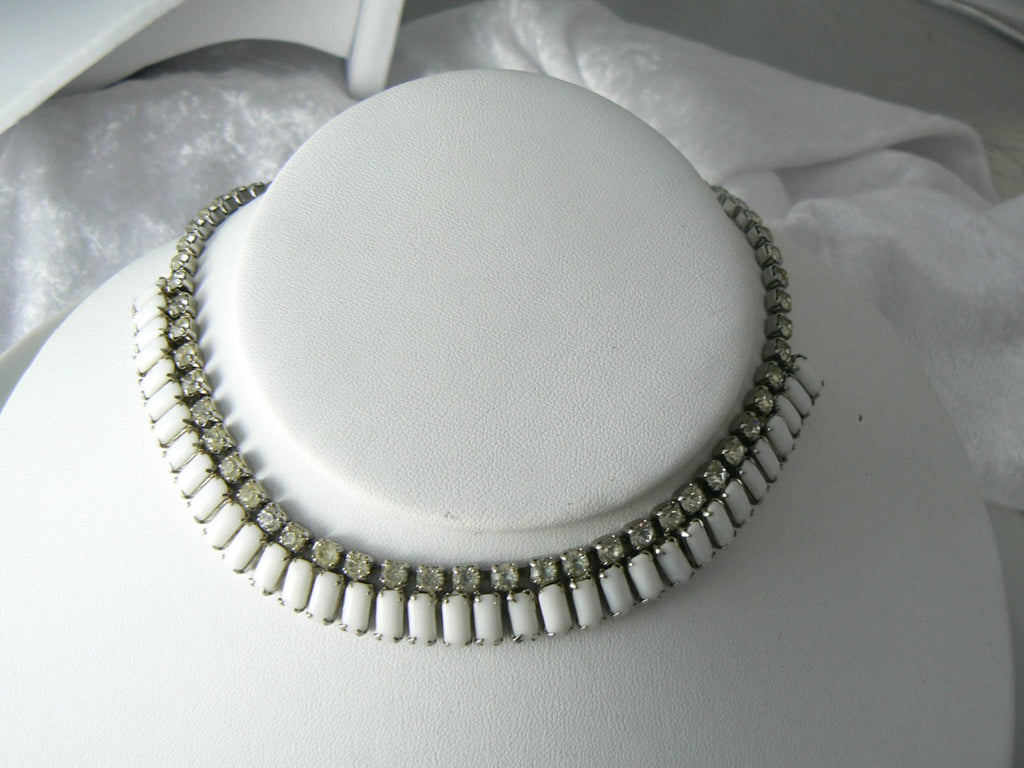 Vintage Kramer Book Piece Poured Milk Glass Rhinestone Set - Vintage Lane Jewelry