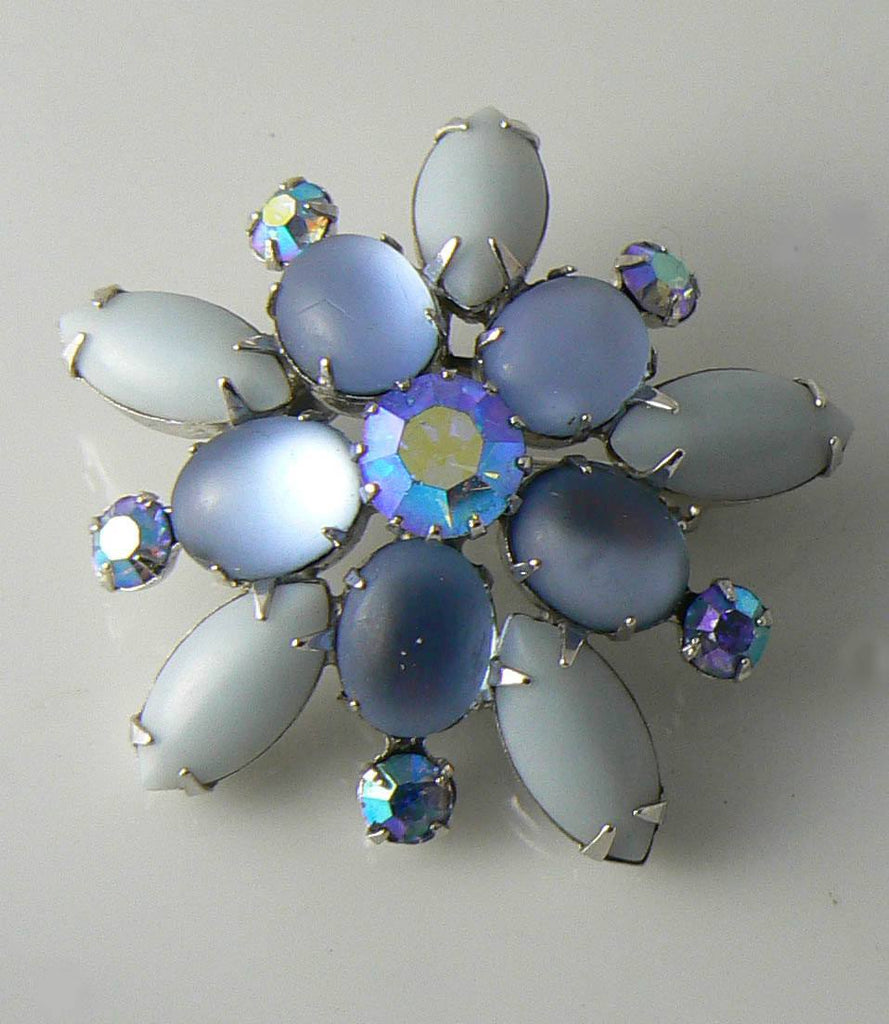 Vintage Coro Pin With Rhinestones And Icy Blue Stones - Vintage Lane Jewelry