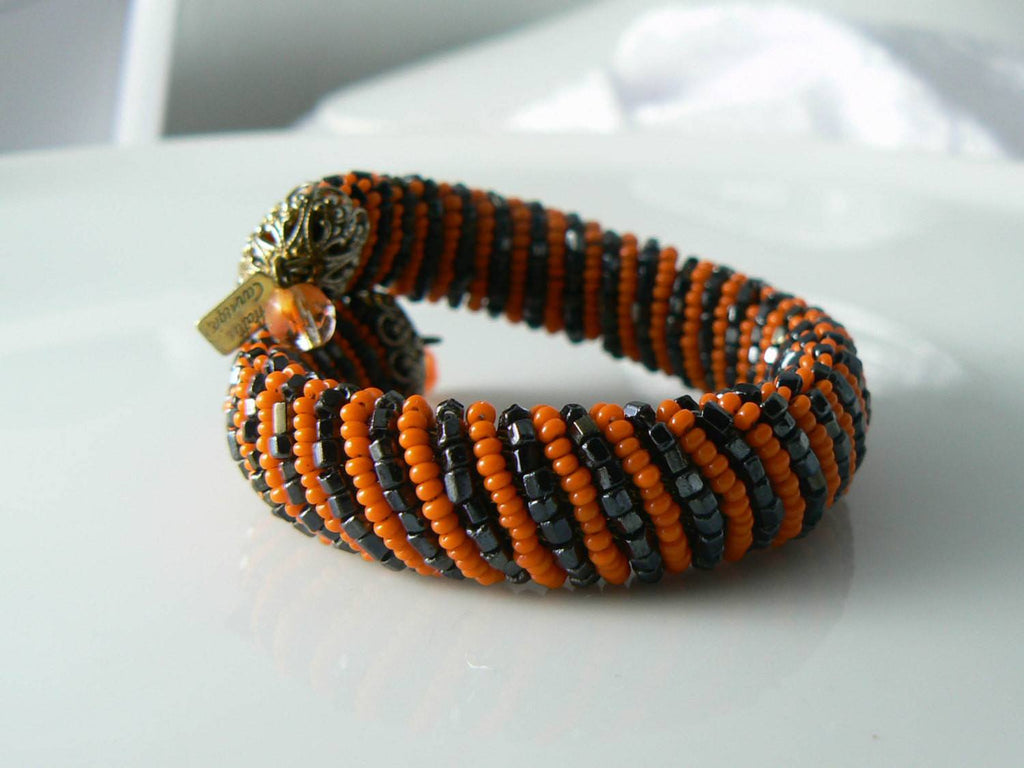 Hattie Carnegie Beaded Black And Orange Bracelet - Vintage Lane Jewelry